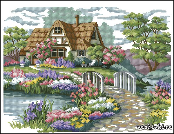 Схемы вышивки домик в цветах