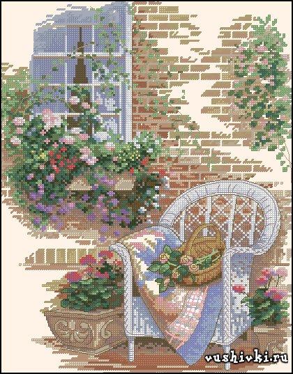 Вышивка крестиком дворик