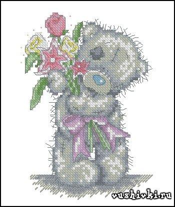 Мишки Тедди - Цветы