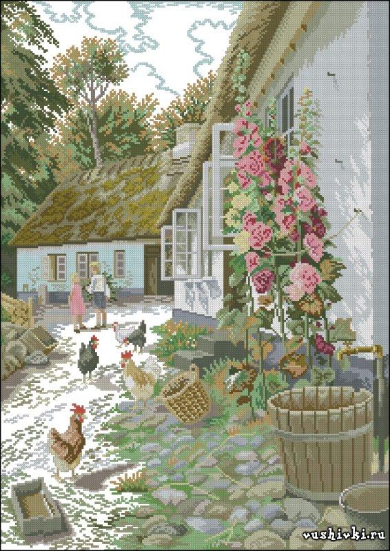 Сельский дворик. Схема вышивки