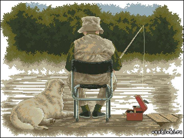 Рыбаки. Схема вышивки