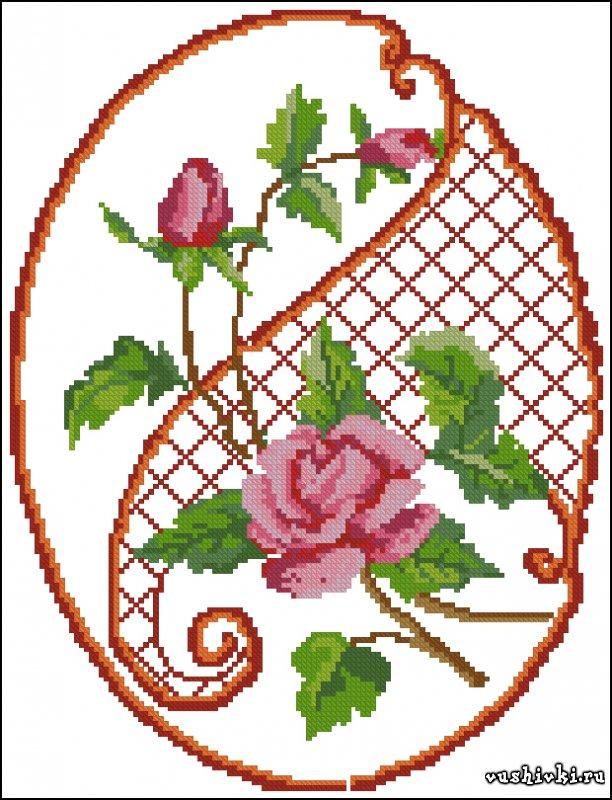 Подушка - Розы. Схема вышивки