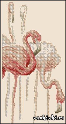 Фламинго №1. Схема вышивки