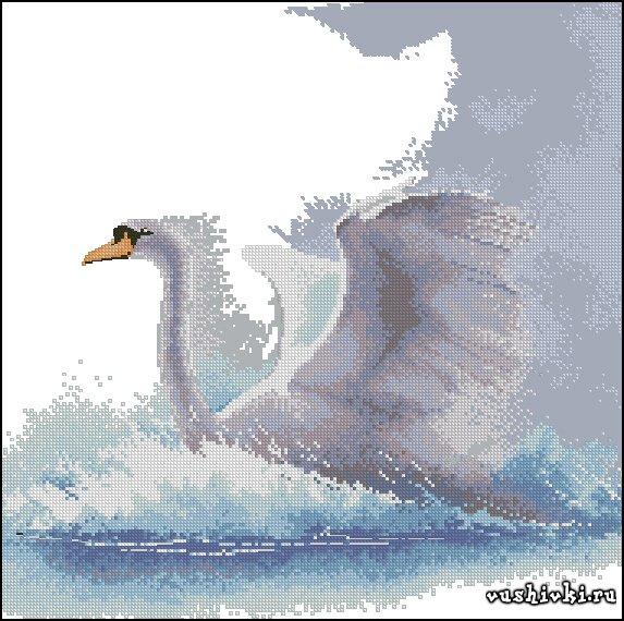 Лебедь в полете. Схема вышивки