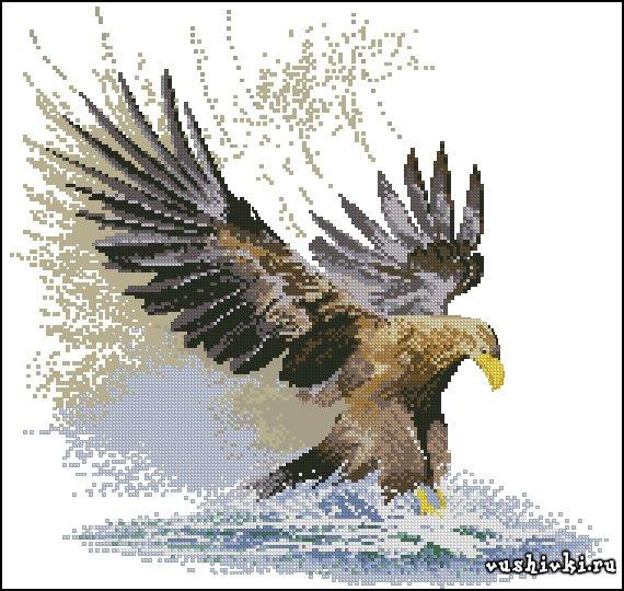 Орел в полете. Схема вышивки