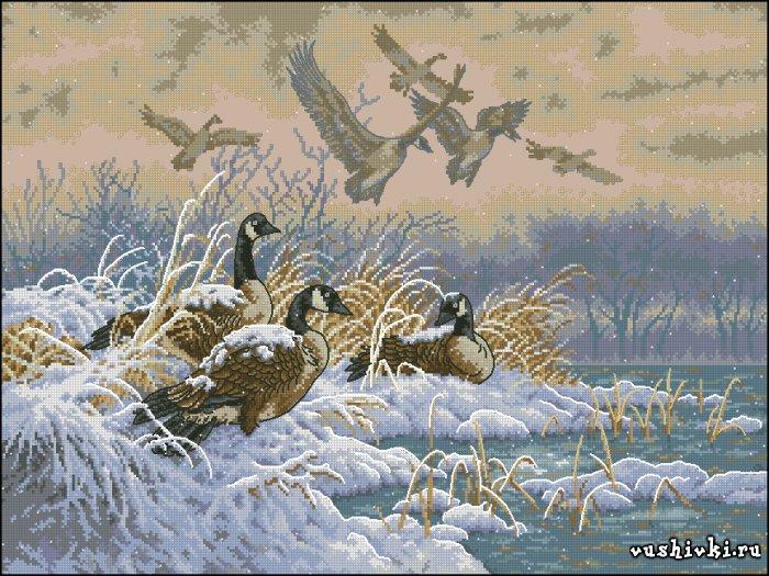 Улетающие утки. Схема вышивки