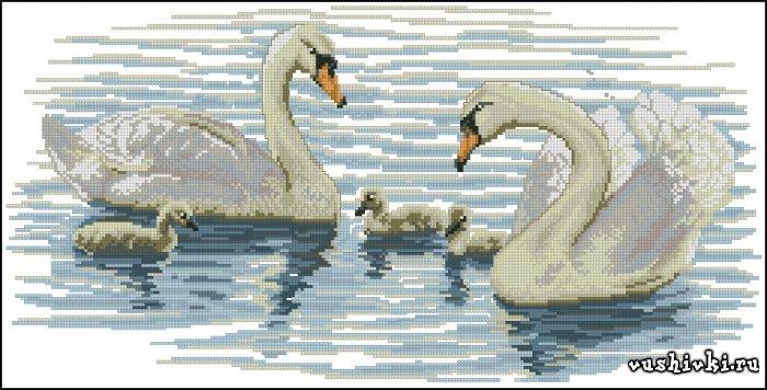 Лебеди на пруду. Схема вышивки