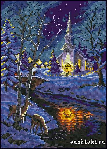 Схема вышивка зимняя ночь