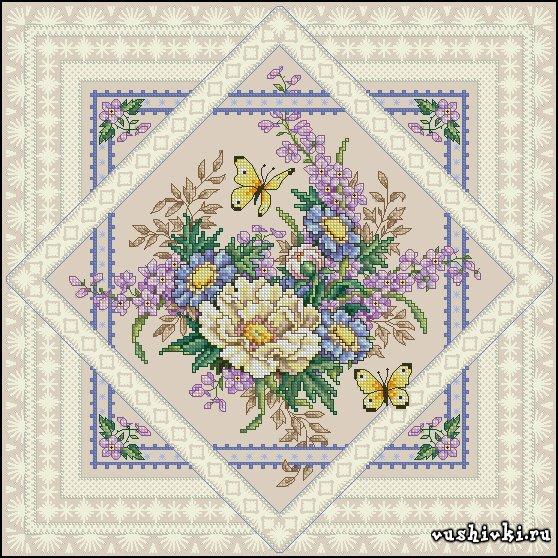 Цветы и бабочки. Схема вышивки