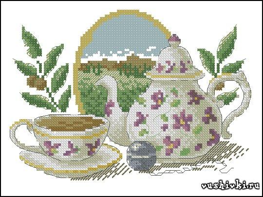 Чай. Схема вышивки
