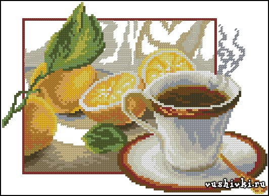 Чай с лимоном. Схема вышивки