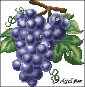 Синий виноград. Схема вышивки