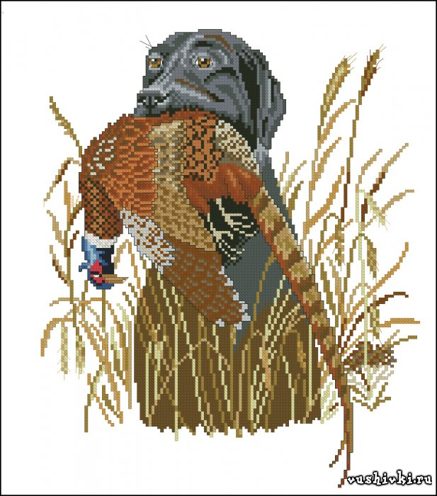 Схема вышивки крестом бесплатно охотник