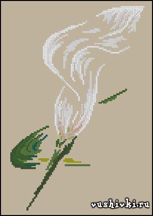Воздушная лилия. Схема вышивки