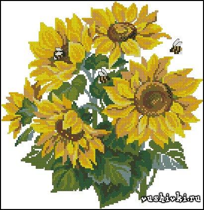 Подсолнухи и и пчёлки
