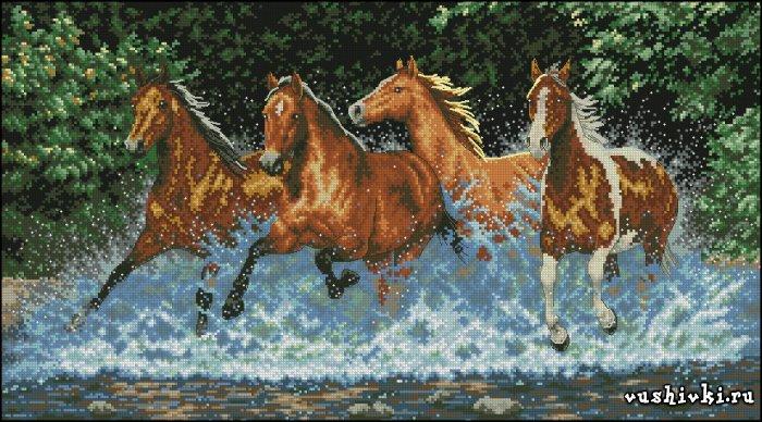 Скачущие лошади. Схема вышивки