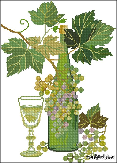 Белое вино. Схема вышивки