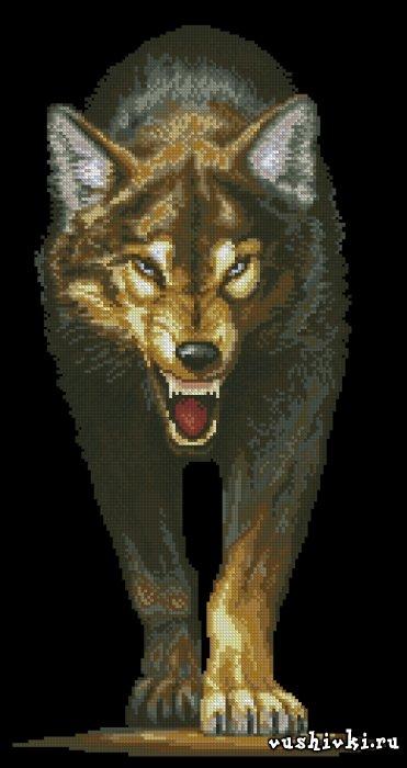 Волчица. Схема вышивки