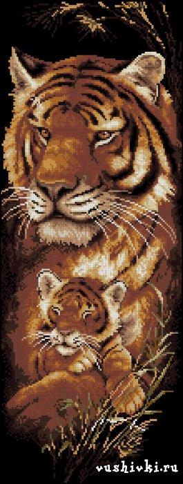 Тигрица. Схема вышивки