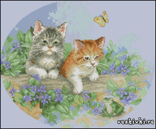 Скачать бесплатно схемы вышивки котят
