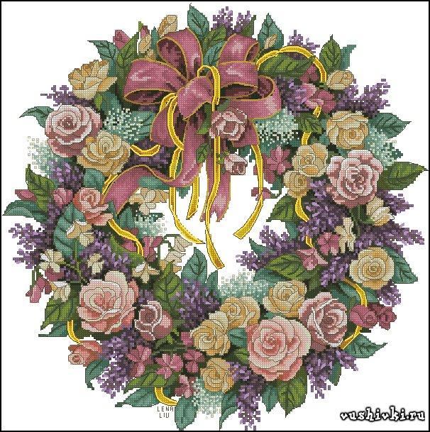 Вышивка крестом схема венок из роз