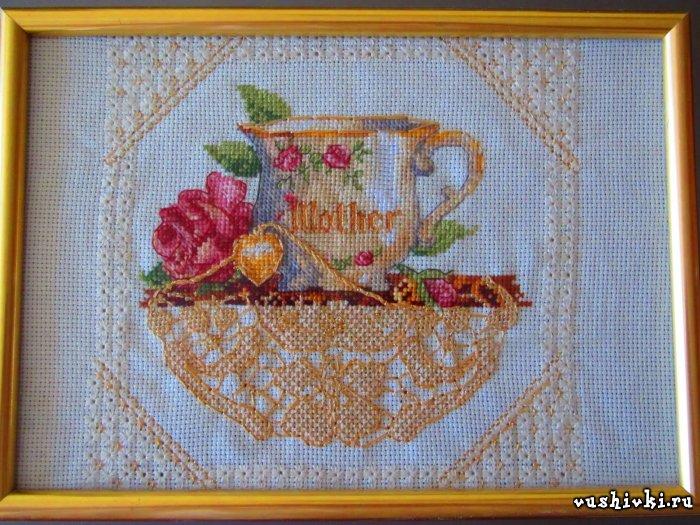 Схема к вышивке мамина чашка