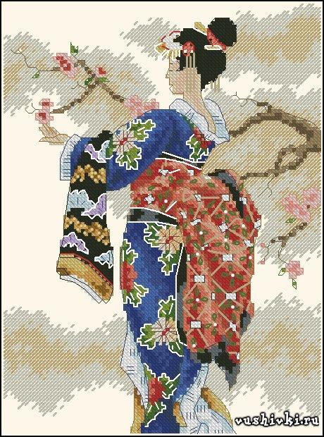 Девушка востока. Схема вышивки