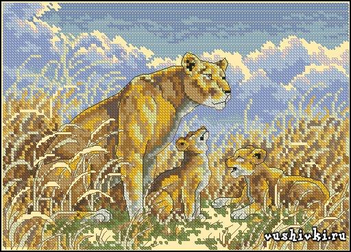 Львица с малышами