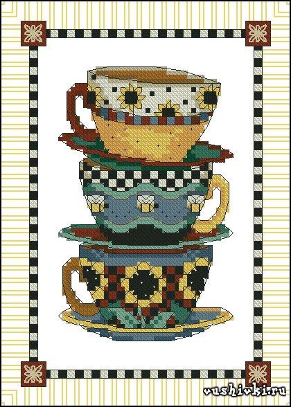 Сложенные чашки. Схема вышивки
