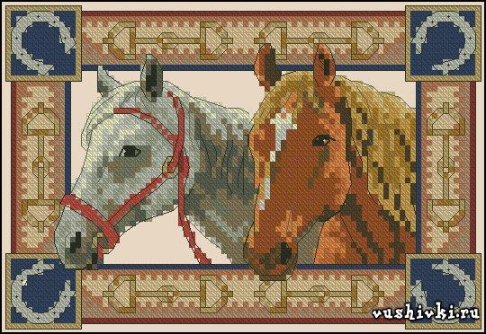 Пара лошадей. Схема вышивки