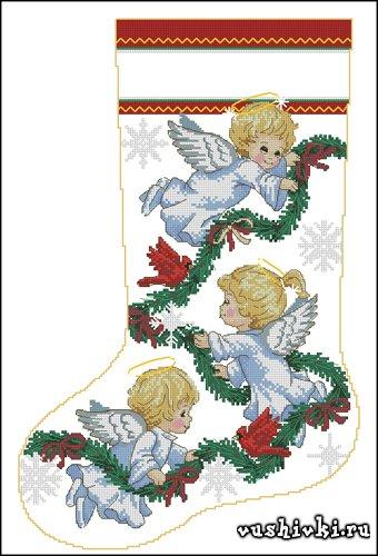 Вышивка новогодний ангел