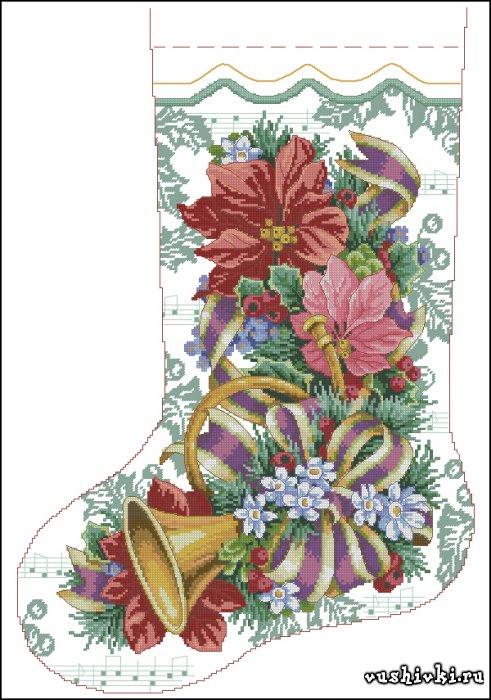 Схемы вышивки носков рождественских