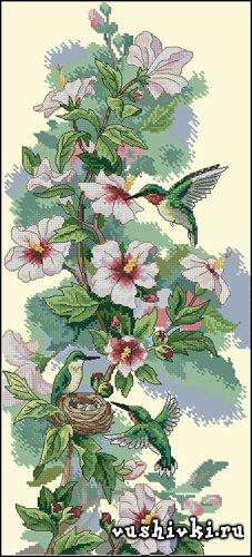 Схема вышивки цветы и колибри