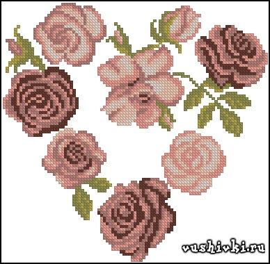 Сердечко из роз. Схема вышивки