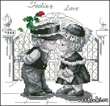 Чувство любви. Схема вышивки
