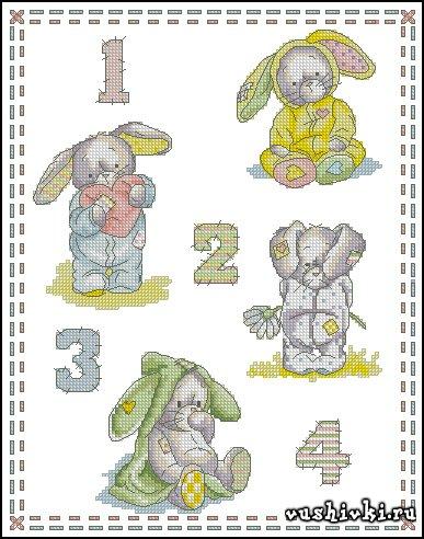 Кролики. Схема вышивки
