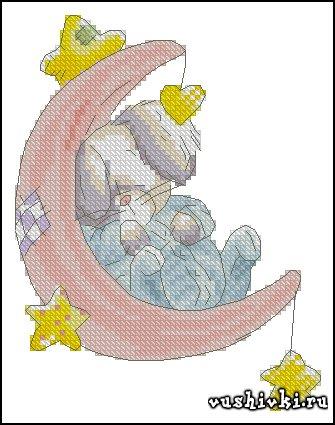 Кролик и луна. Схема вышивки