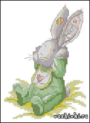 Кролик ребенок. Схема вышивки