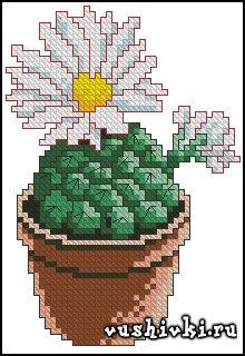Схема для вышивки крестом с кактусы