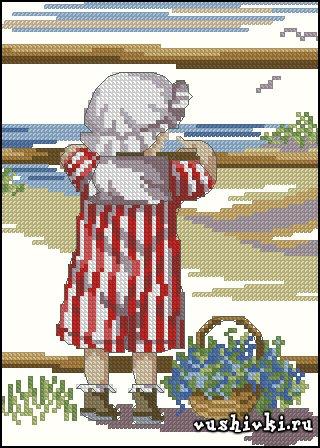 Морской пейзаж. Схема вышивки