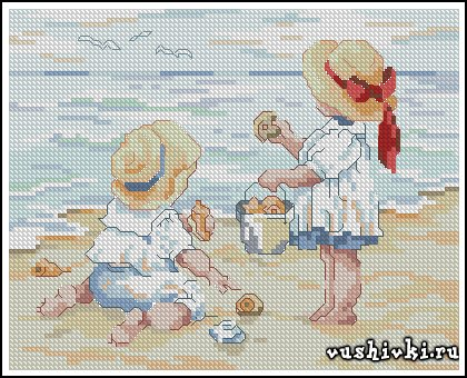 На пляже. Схема вышивки