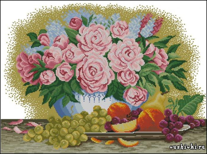 Фрукты и цветы. Схема вышивки