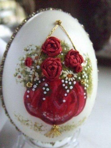 Вышивка на яйцах от Элизабет Кляйн.