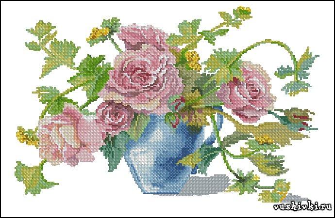 Розы в вазе. Схема вышивки