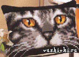 Вышивка крестом схемы подушка кот