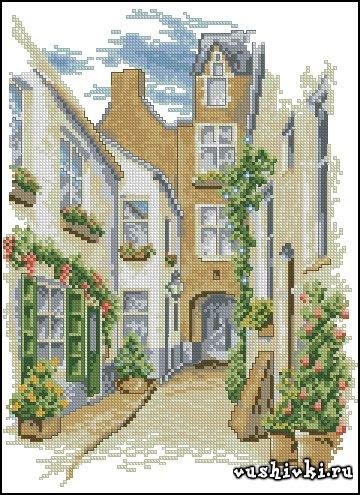 Улица в цветах. Схема вышивки
