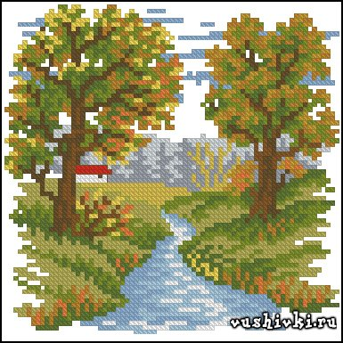 Осенний пейзаж. Схема вышивки