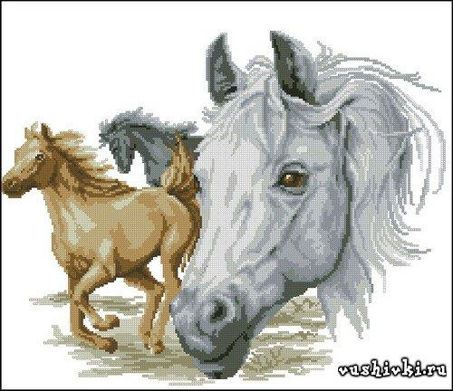 Бегущие лошади. Схема вышивки