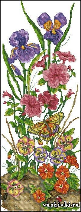 Садовые цветы. Схема вышивки