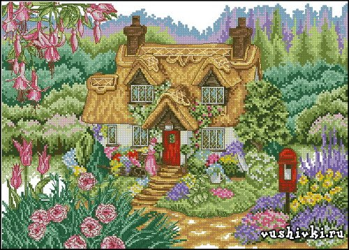 Домик в саду. Схема вышивки в